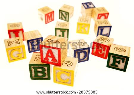 Learning blocks isolated over white - stock photo