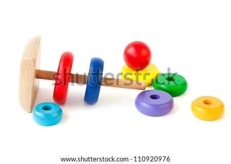 Learning child wood color  pyramid toy - stock photo