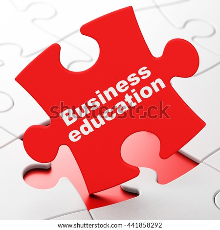 Learning concept: Business Education on Red puzzle pieces background, 3D rendering - stock photo