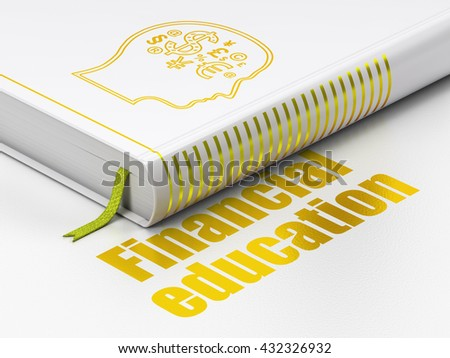 Learning concept: closed book with Gold Head With Finance Symbol icon and text Financial Education on floor, white background, 3D rendering - stock photo