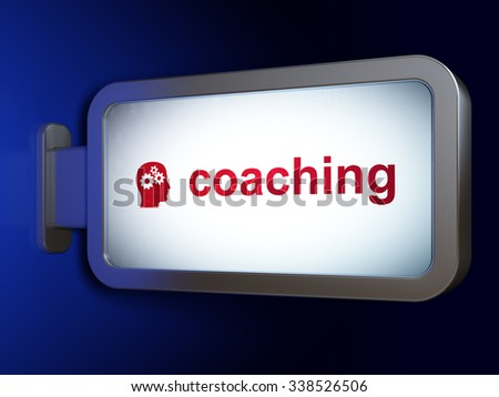 Learning concept: Coaching and Head With Gears on advertising billboard background, 3d render - stock photo