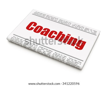 Learning concept: newspaper headline Coaching on White background, 3d render - stock photo