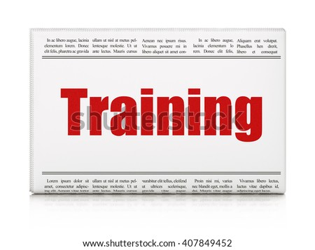 Learning concept: newspaper headline Training on White background, 3D rendering - stock photo