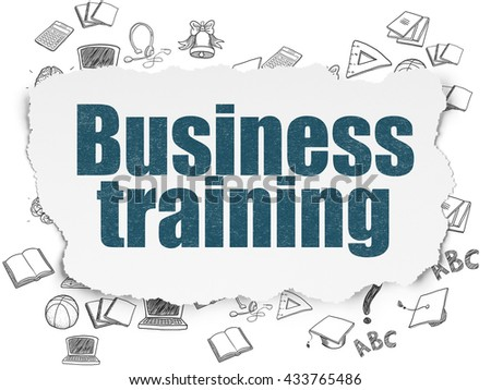 Learning concept: Painted blue text Business Training on Torn Paper background with  Hand Drawn Education Icons - stock photo