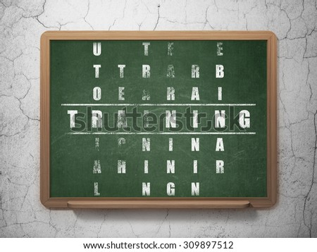 Learning concept: Painted White word Training in solving Crossword Puzzle on School Board background - stock photo