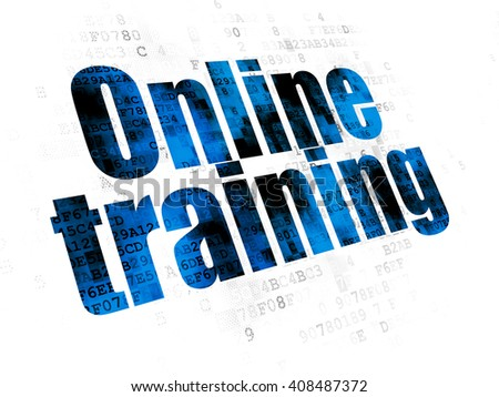 Learning concept: Pixelated blue text Online Training on Digital background - stock photo