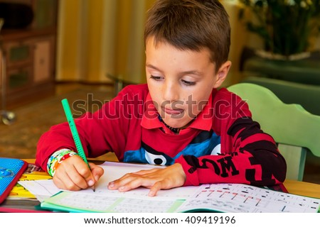 learning for homework - stock photo