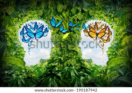 Learning network and education exchange concept as a jungle with open spaces shaped as human heads and butterflies as the shape of a brain flying from one person to another as a connection metaphor. - stock photo