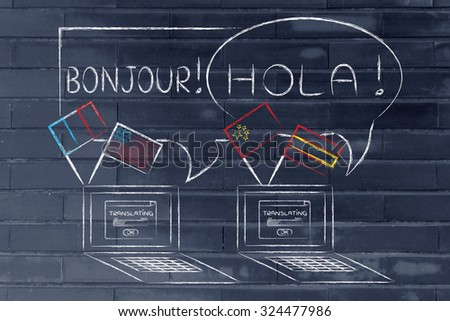 learning online and translation services: laptop with flags speaking foreign languages - stock photo