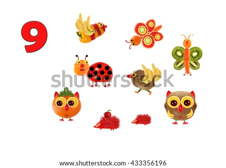 Learning to count. Cartoon figures of vegetables and fruits, as an illustration of mathematical education for children of preschool age. - stock photo