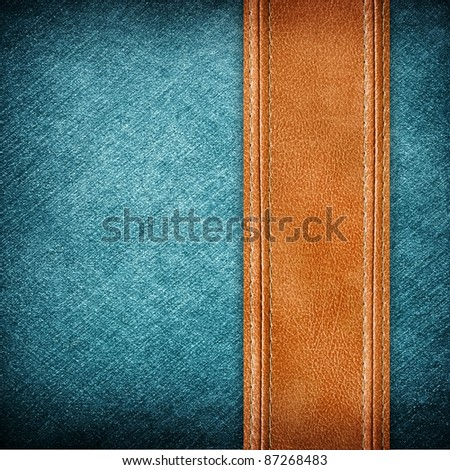 leather and jean background - stock photo