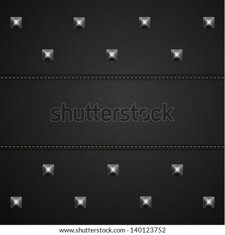Leather background with rivets and stitches - raster version - stock photo