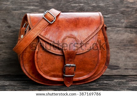 leather bag - stock photo