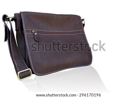 Leather bag for man isolated on white background. clipping path in picture.