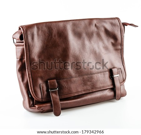 Leather bag isolated on white background - stock photo