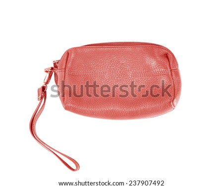 leather bag isolated on white background, Cosmetic bag - stock photo
