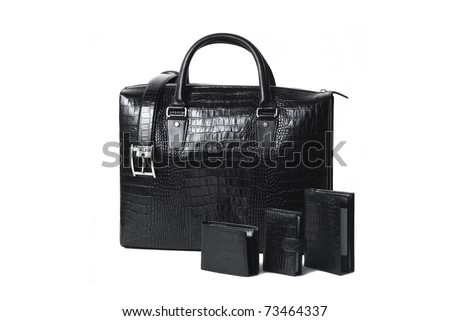 Leather bag with accessories - stock photo