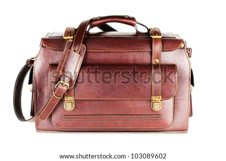 Leather Bag with shoulder strap for business travel (isolated on white background) - stock photo