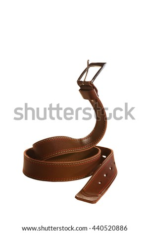 Leather belt for trousers in pose cobra on white background - stock photo