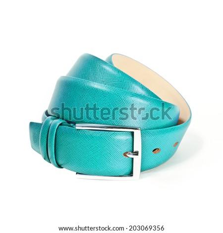 leather belt isolated on a white studio background - stock photo