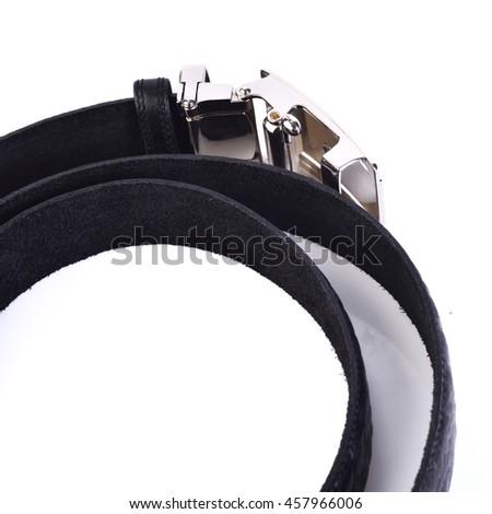 Leather belt isolated on white background - stock photo