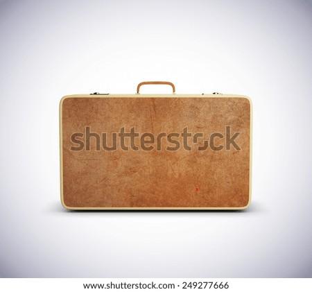 leather big suitcase isolated on white background - stock photo