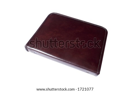 Leather binder on white