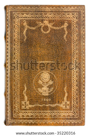 leather Book cover with gold frame - stock photo