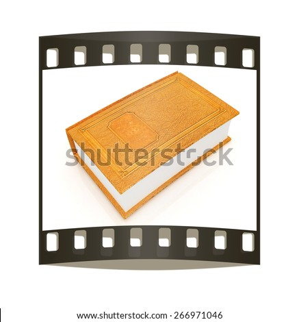 Leather book  on a white background. The film strip - stock photo