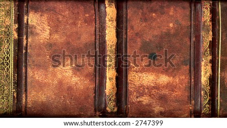 Leather bound book detail - stock photo