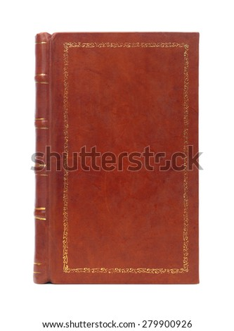 Leather bound brown vintage book cover texture isolated on white background
