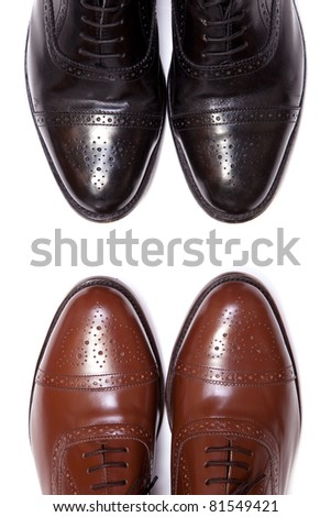 Leather Brogues isolated on a white background. - stock photo