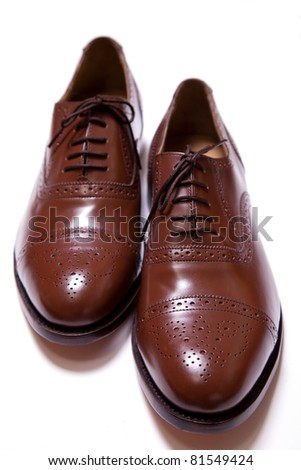 Leather Brogues isolated on a white background.