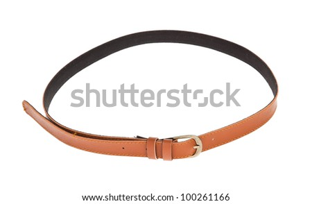 leather brown belt - stock photo