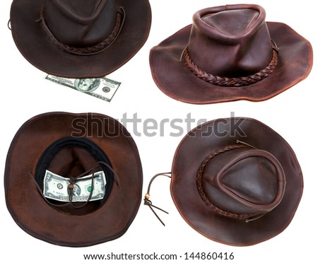 Leather brown cowboy hat isolated on white background - stock photo
