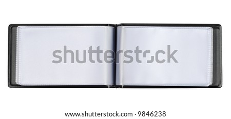 Leather business card case isolated with clipping path over white background - stock photo