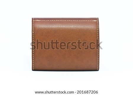leather business card holder leather - stock photo