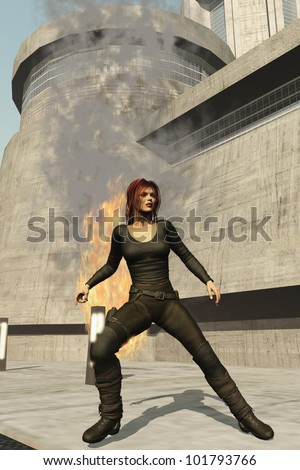 Leather clad female spy prepares to draw her sidearm following explosion - stock photo