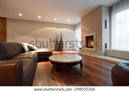 Leather comfortable sofa in luxury living room - stock photo