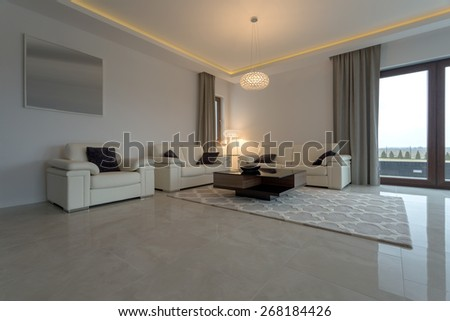Leather cream sofa and armchair in luxury interior - stock photo