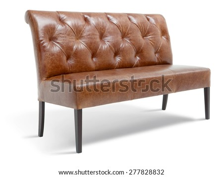 Leather dining bench - stock photo