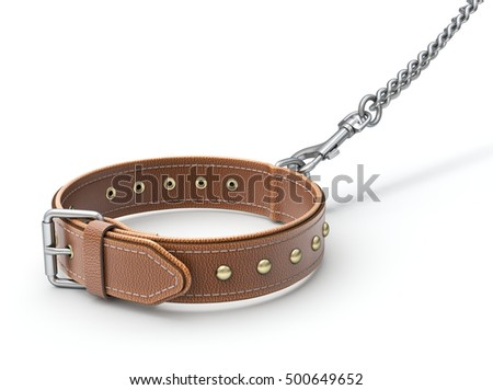 Leather dog collar with trigger hook and chain - 3D illustration