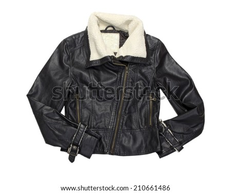 Leather female biker short modern jacket with fur. Isolated on white.
