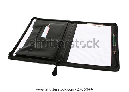 Leather folder for papers on a white background - stock photo