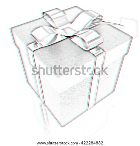 Leather gift-box with gold ribbon. Pencil drawing. 3D illustration. Anaglyph. View with red/cyan glasses to see in 3D.