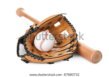 Leather glove with baseball and bat isolated over white background - stock photo