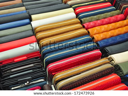 Leather goods, purses on retail, market.