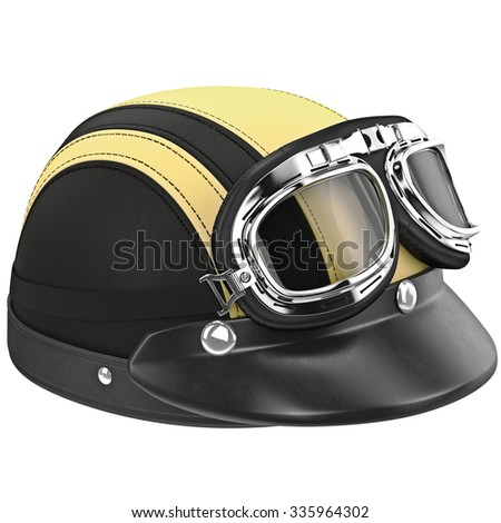 Leather helmet with goggles for motorcyclist. 3D graphic object on white background isolated