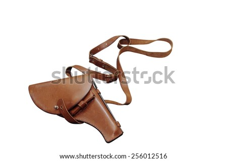 leather holster for the pistol . Vintage object. Illustration Isolated on white - stock photo