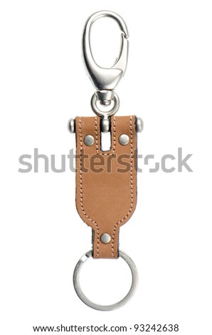 Leather key chain isolated on white background. - stock photo